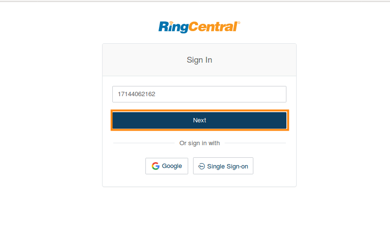 sign in ringcentral