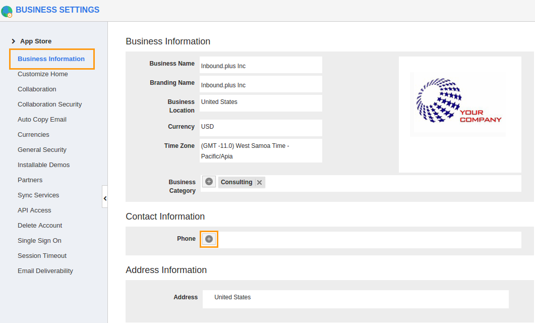 edit business information