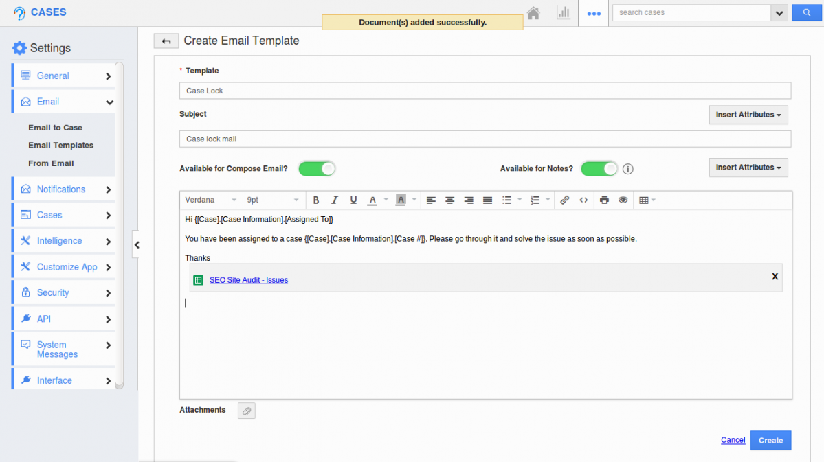 case template creation