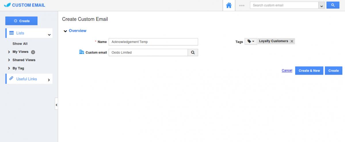 create new custom email