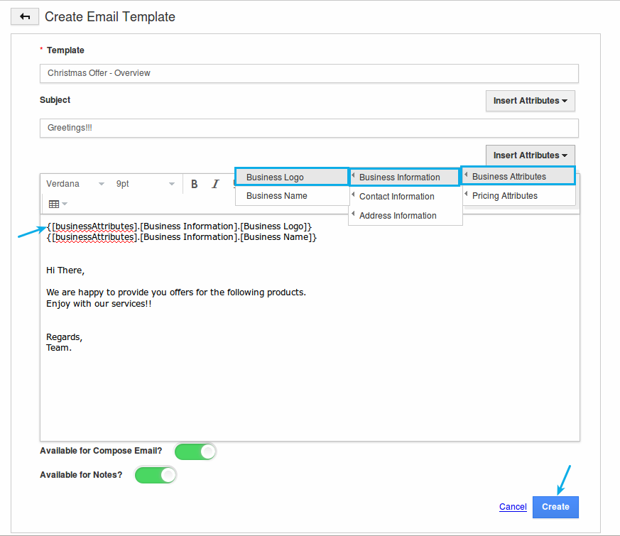 Create Email Templates In Pricing App