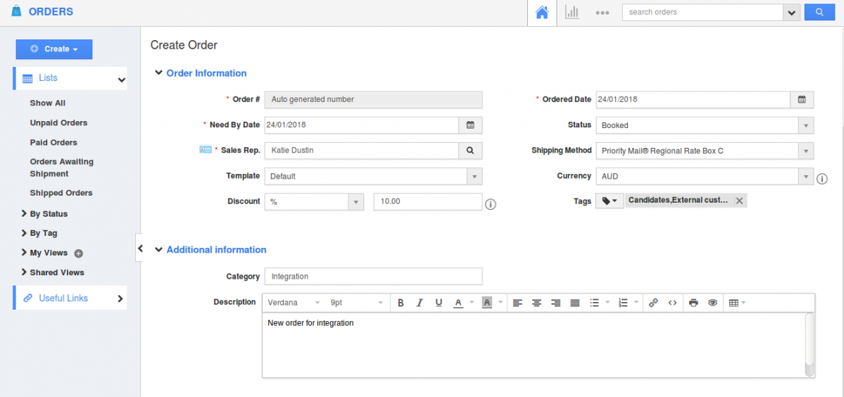 order creation page