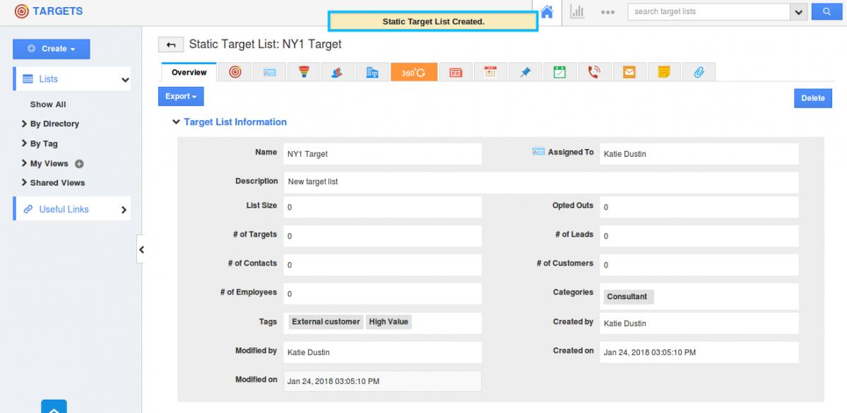 target list created