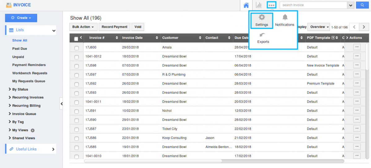 how do i build my own custom view in the invoice app