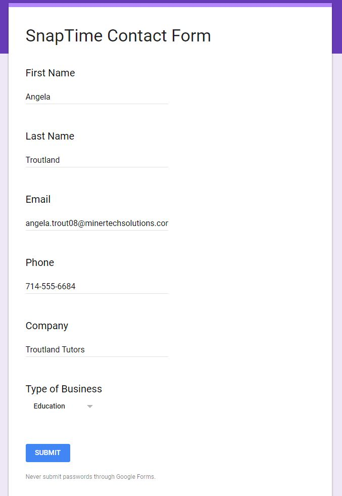 add in form details to test