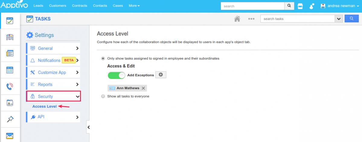 tasks access level
