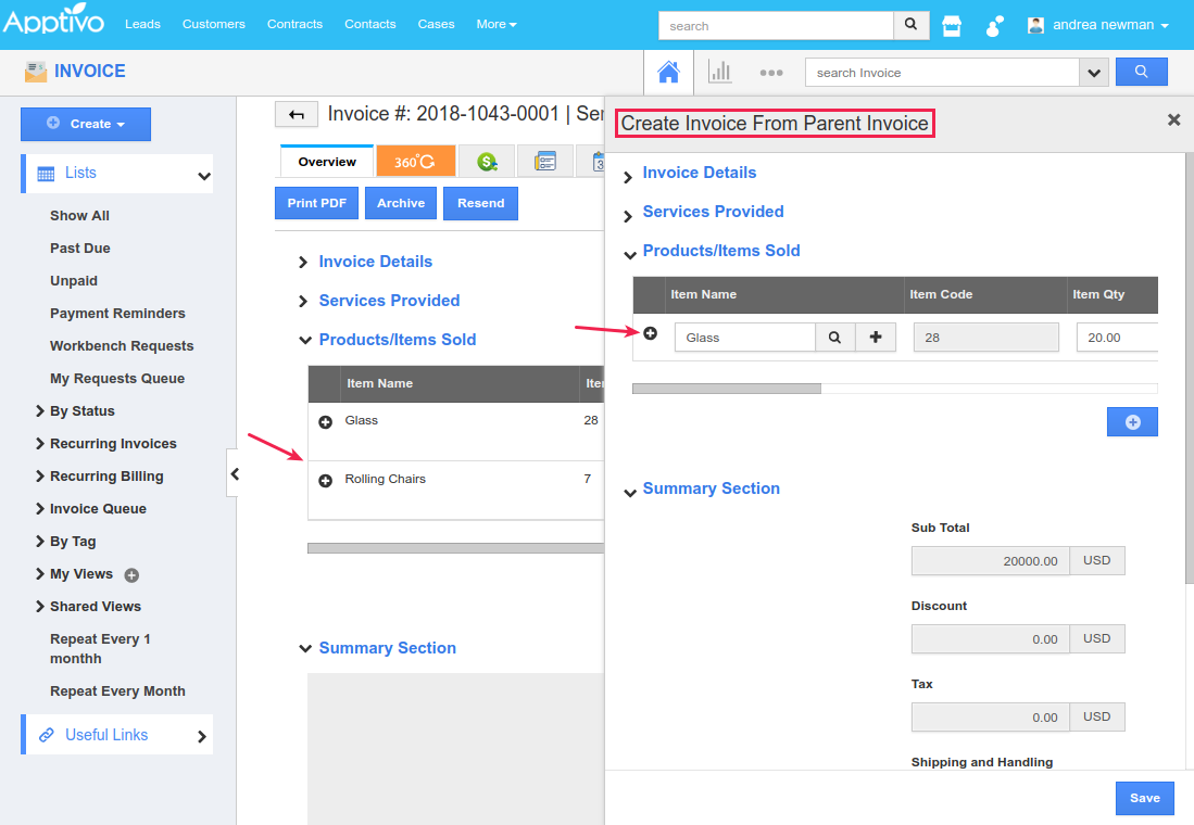 create invoice from parent invoice popup