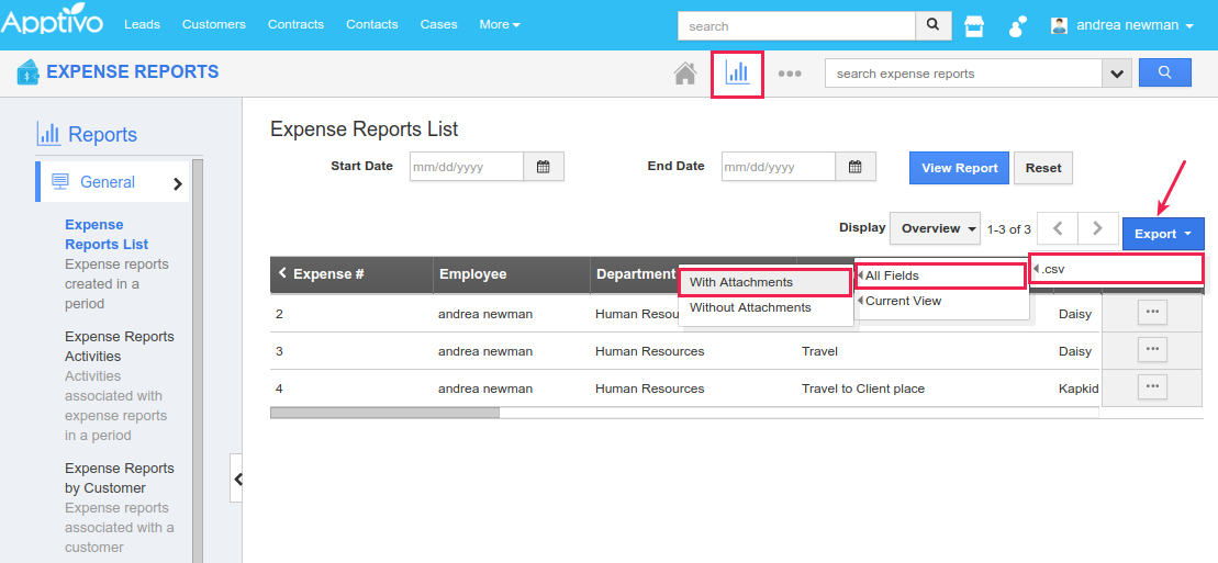 expense export attachments