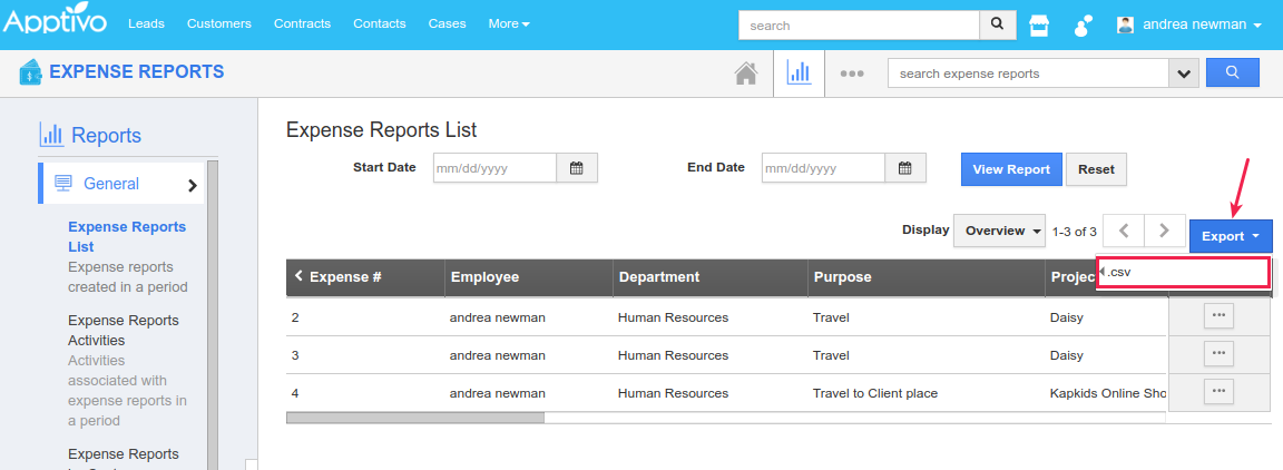 expense report export feature