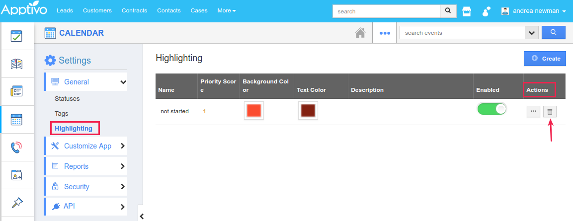 delete option for highlighting