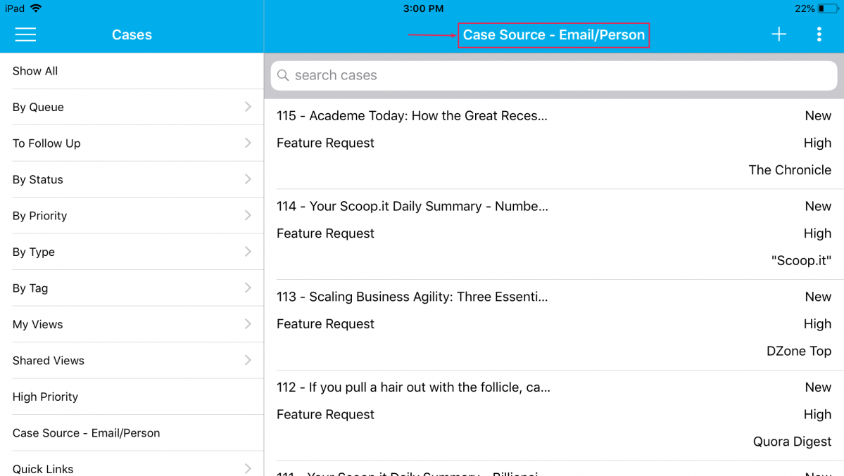 view cases matching custom view