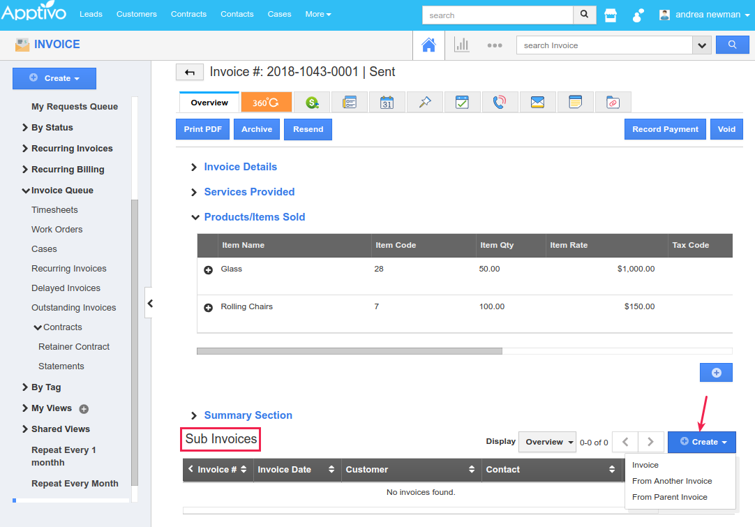 view sub invoices section