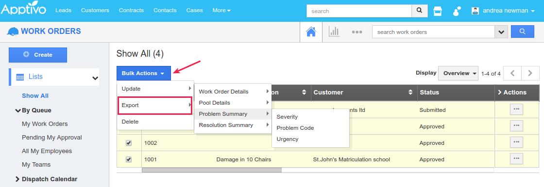 work orders bulk update