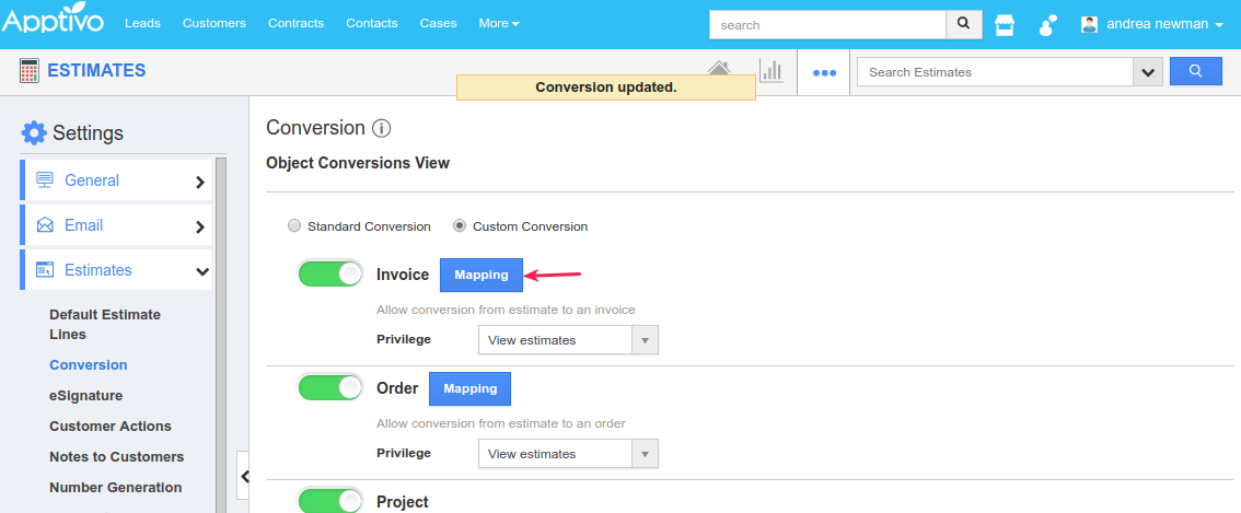 click mapping for invoice