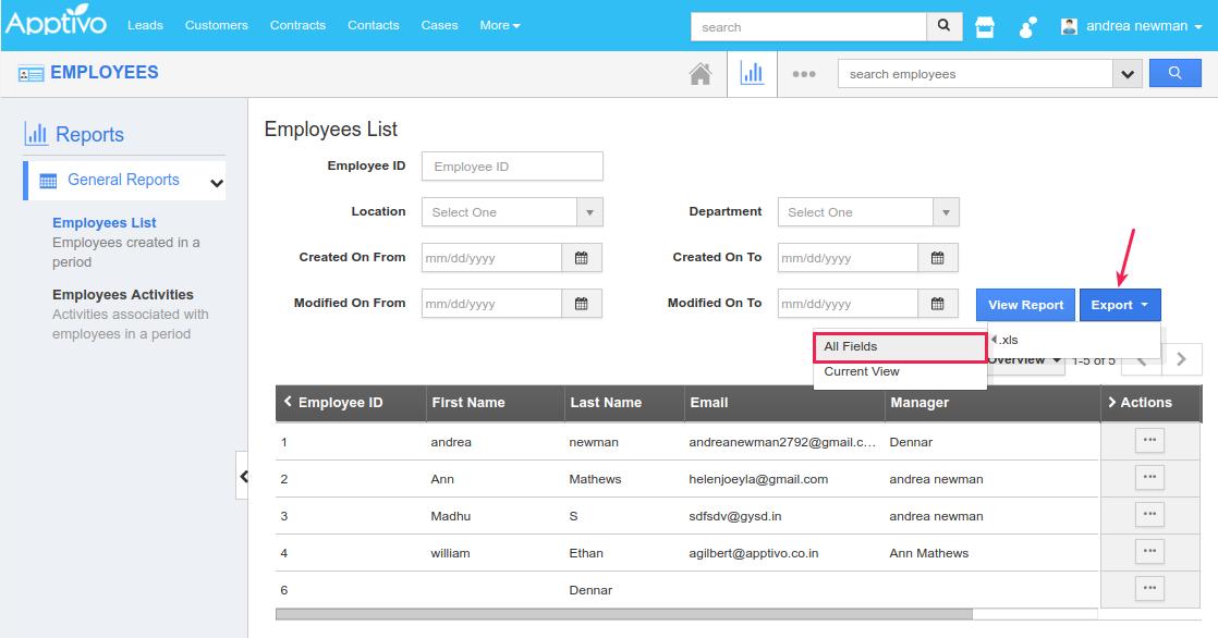 employee roles export in reports