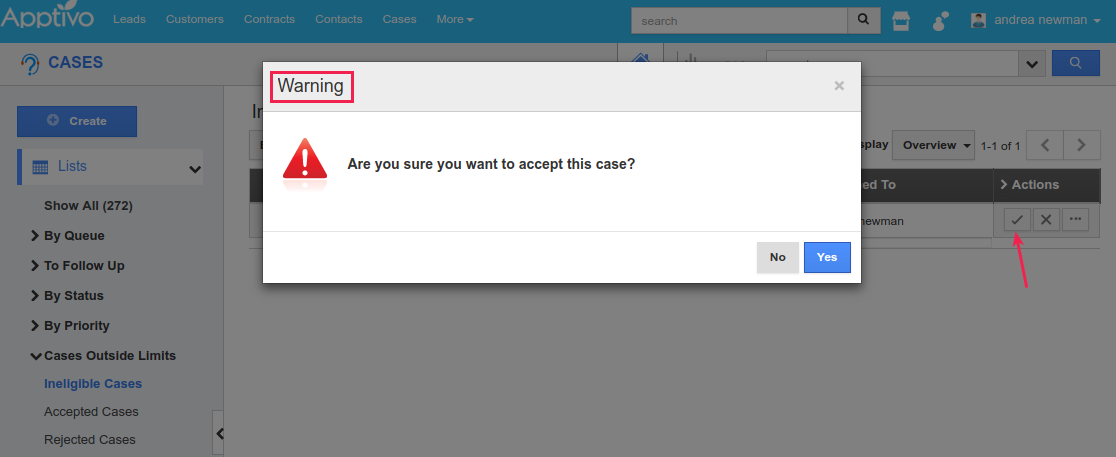 click yes to accept cases