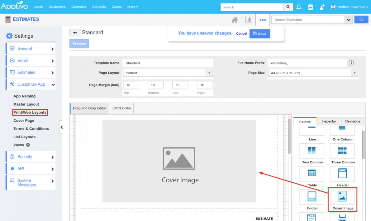 add estimates cover page to estimates pdf