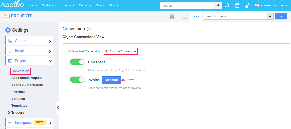 projects to invoices custom conversion