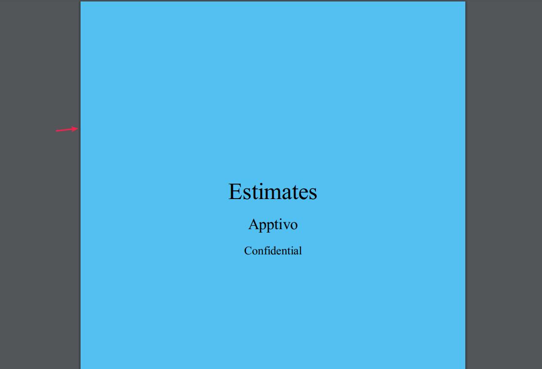 view cover page in estimates pdf