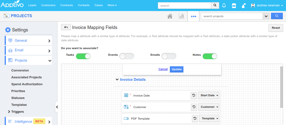 invoice mapping fields