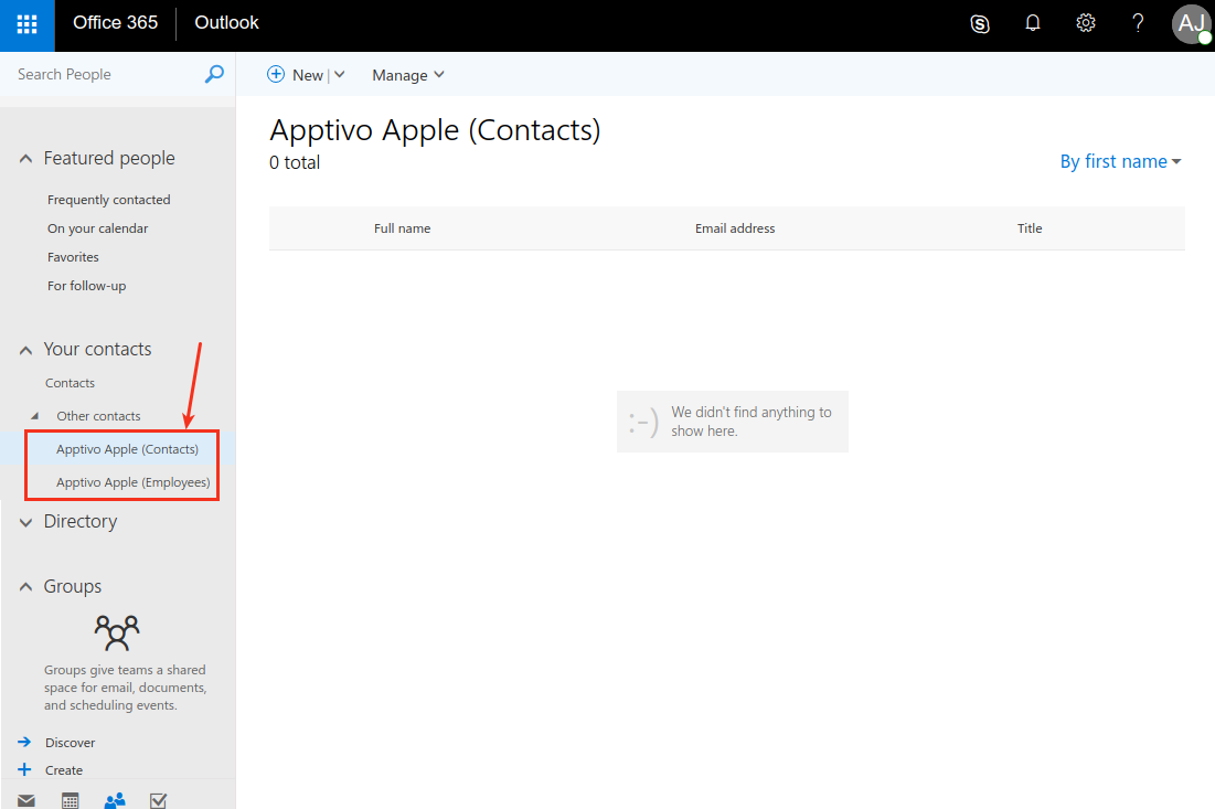 view apptivo groups in o365