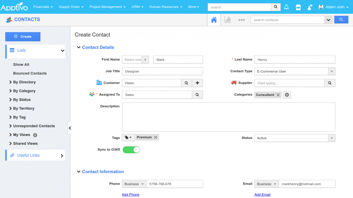 create contact in apptivo