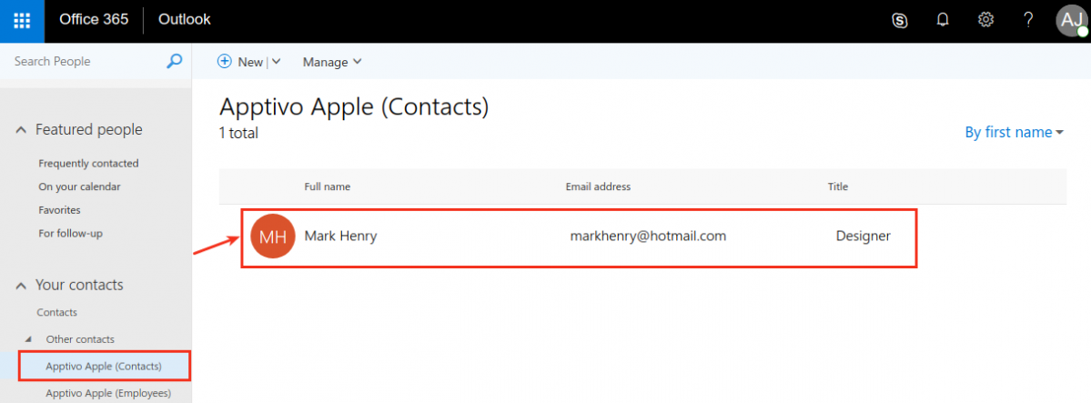 view contact synced to o365