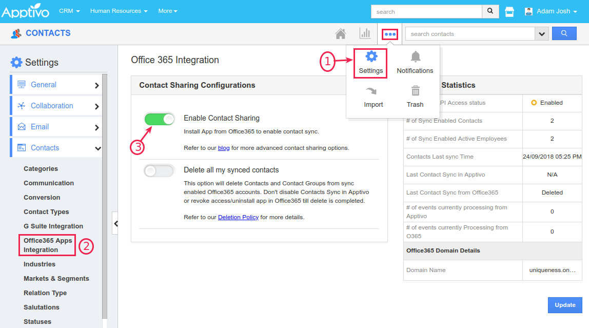 enable contact sharing toggle