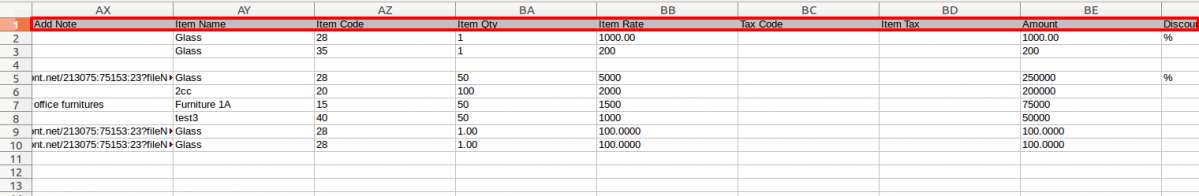 exported line level in invoices