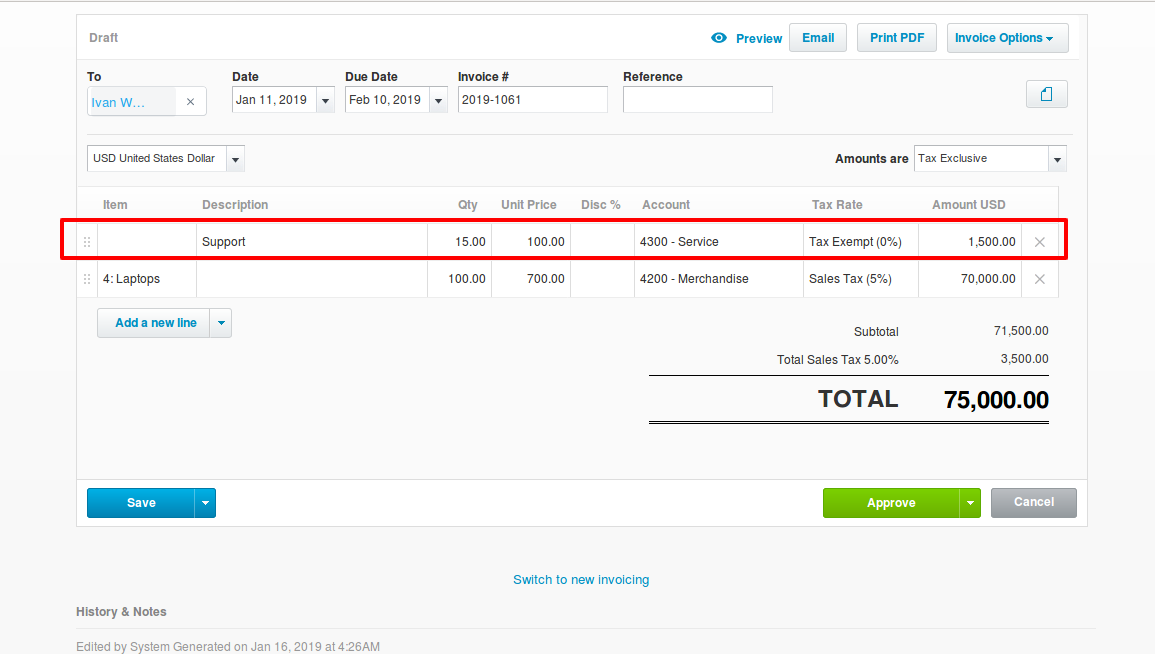 Service Level Sync for Invoices