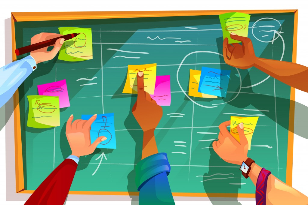 Kanban board vector illustration for agile scrum management and teamwork process methodology. Team people hands sticking work business plan schedule and memo notes on chalkboard