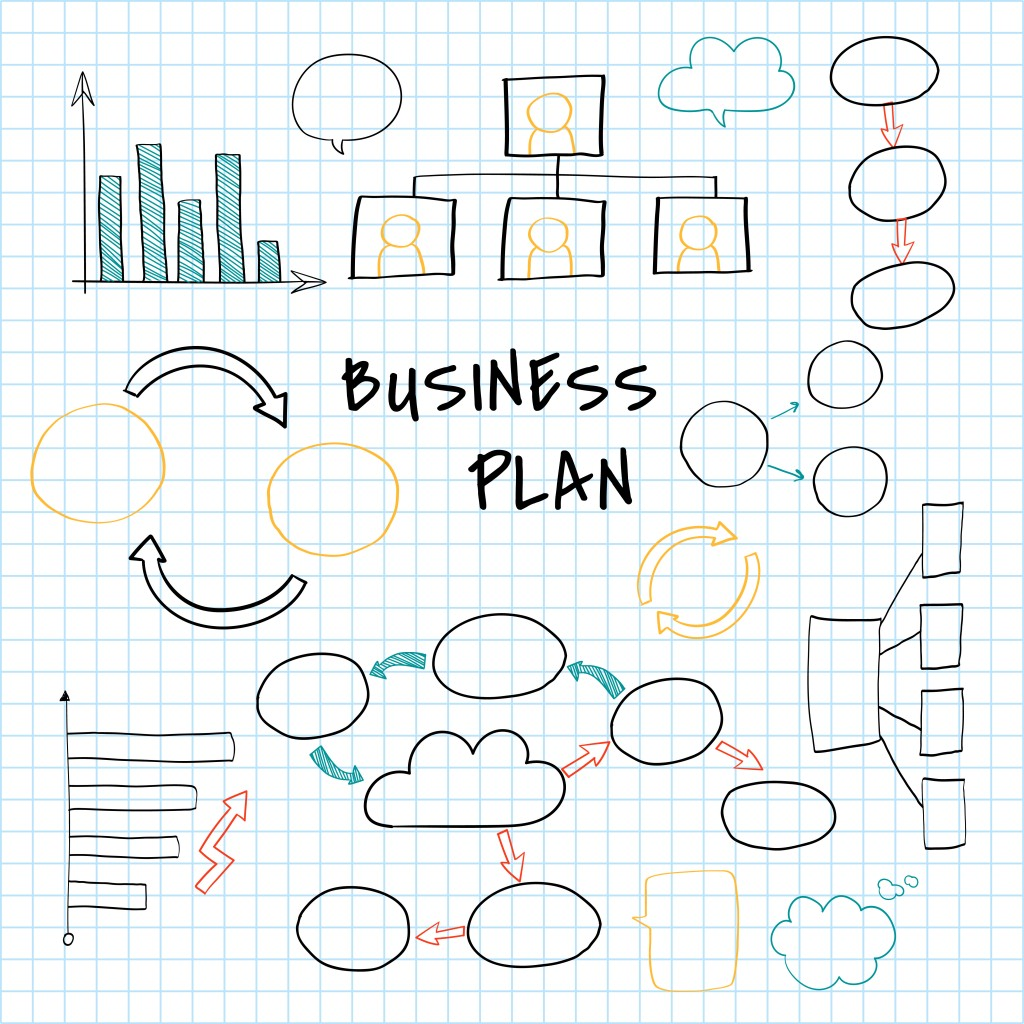 Business plan set with chart and graph vector