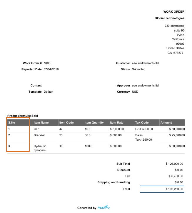 Serial Number in printed Work Order