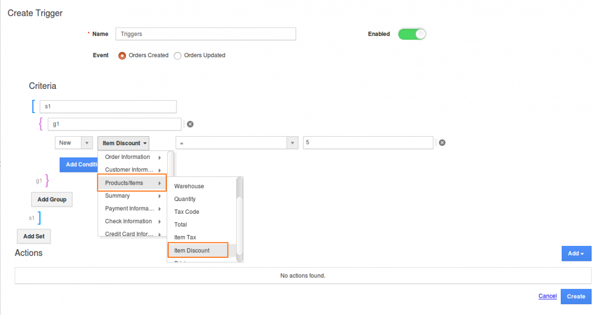 Triggers for Line-level attributes in Orders App