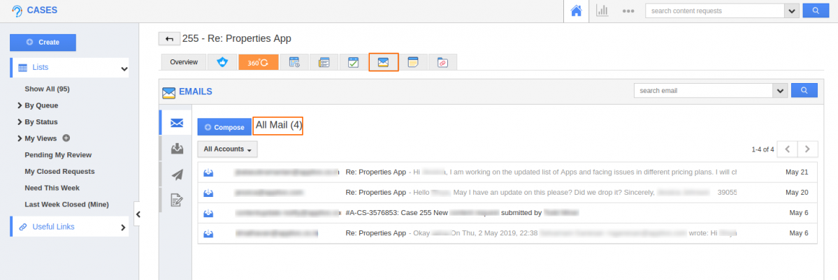 Email to case