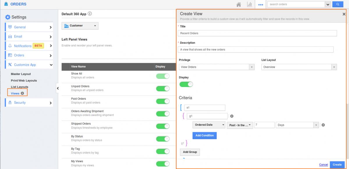 Custom Views in Orders App