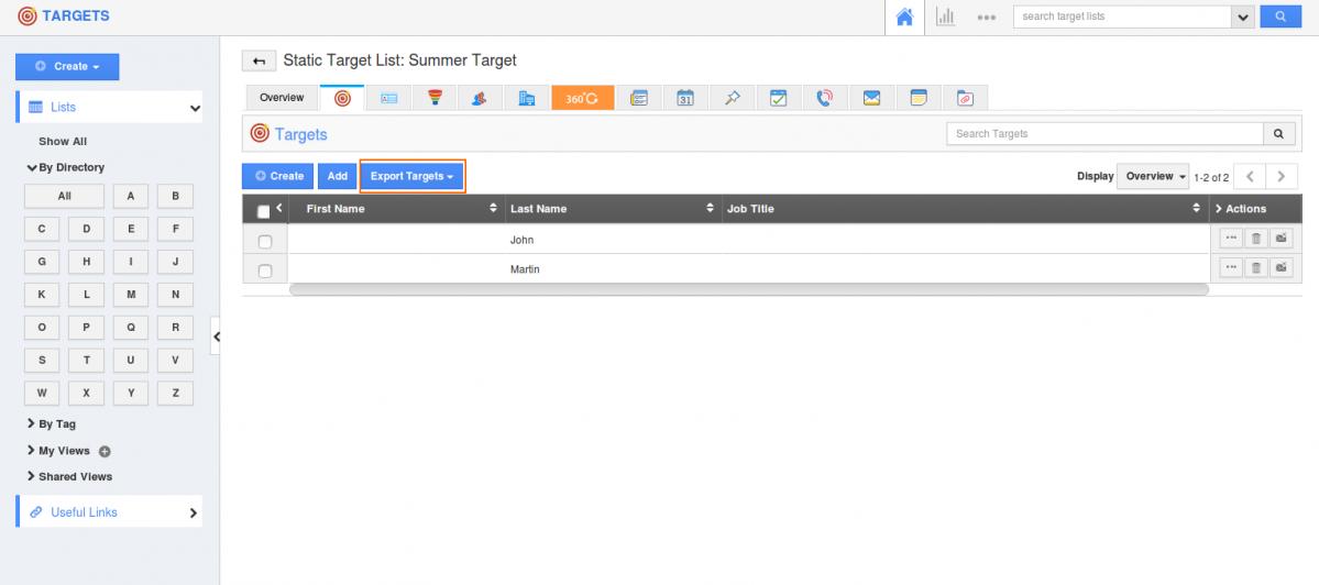 Export target lists