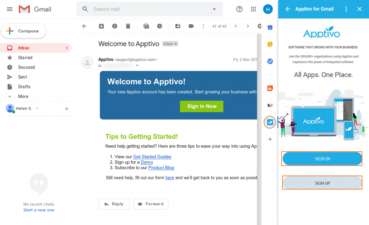 The Apptivo Add-on for Gmail
