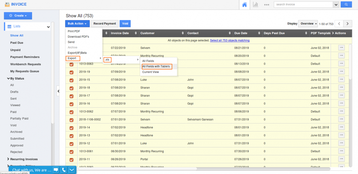 Tables export in Invoices