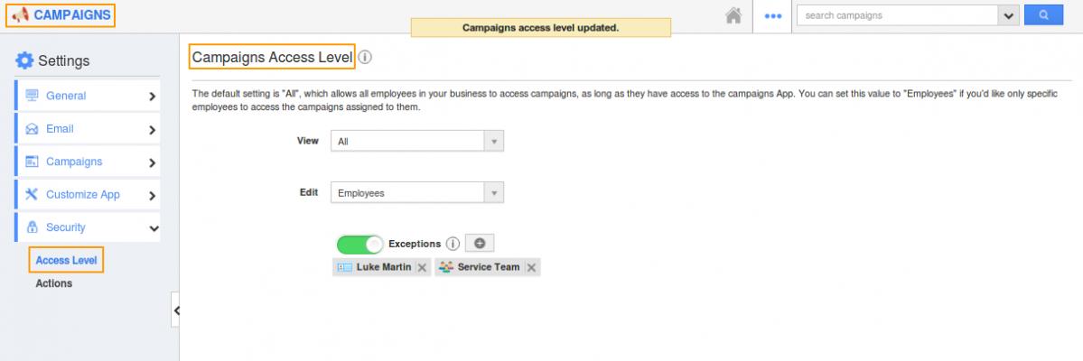 Campaigns access level