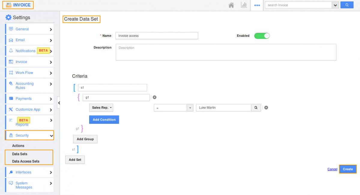 Data access in invoice