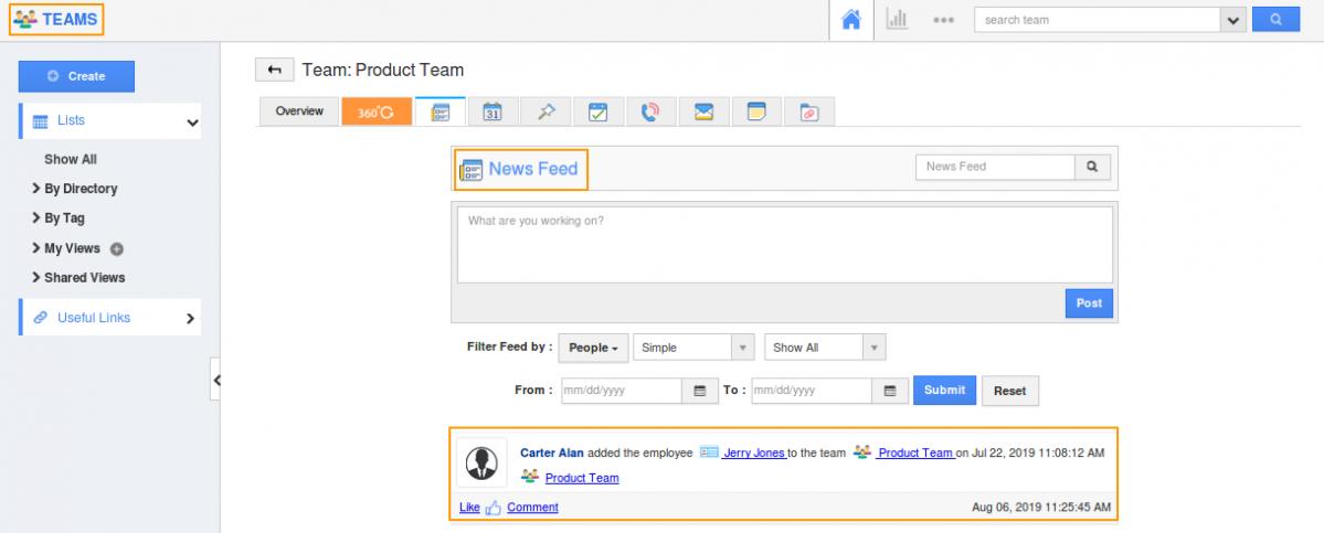 Teams App Newsfeed