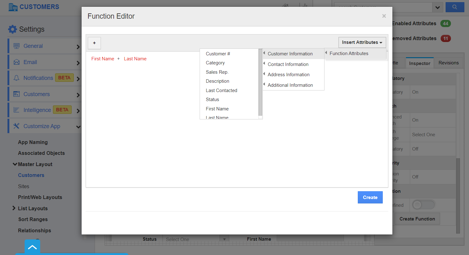 Function Editor In Customer Name Attribute