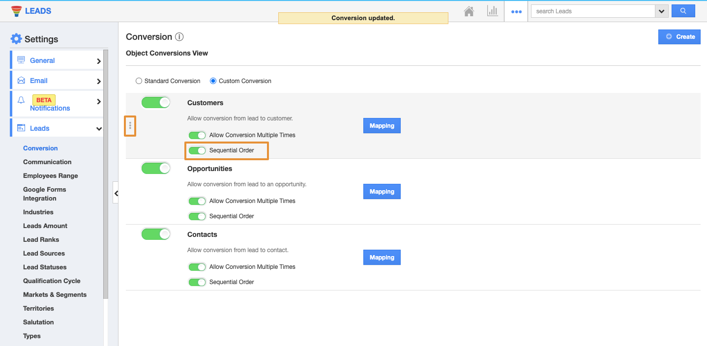 Sequential Order Alignment in Leads App