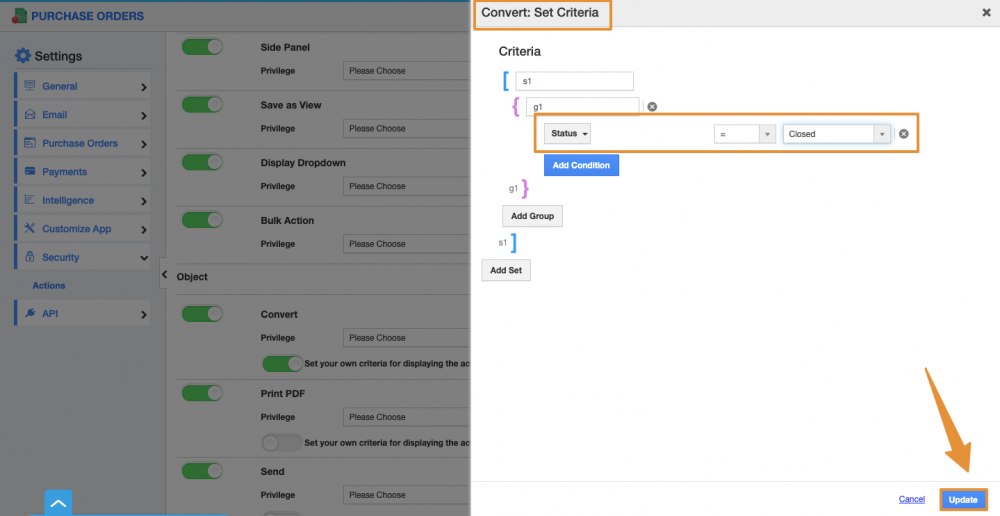 Set Criteria in Convert Action for Purchase Orders