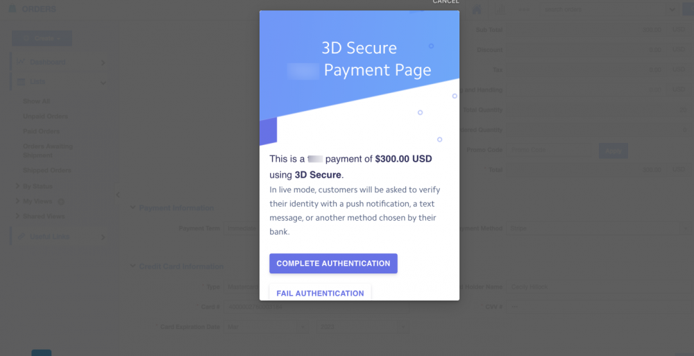 Stripe 3D Secure Payment Authentication for Orders App