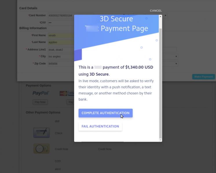 Stripe 3D Secure Payment Authentication