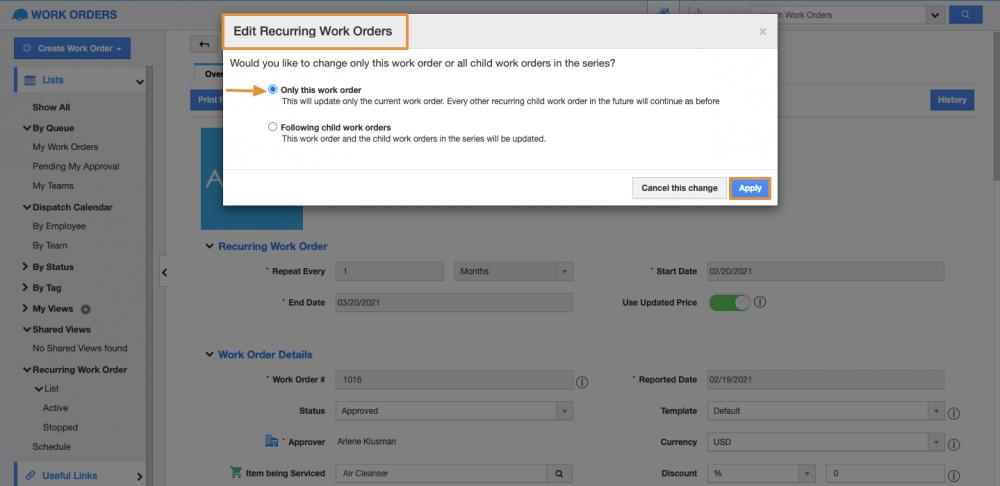 Enhanced Recurring Work Orders