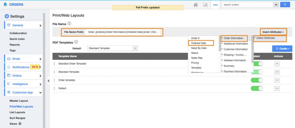 Enhanced Print/Web layout in Orders App