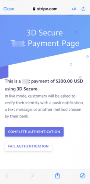 Stripe 3D Secure Payment Authentication in Orders App